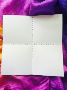 Start with a square piece of paper. Now would be a good time to write your love's name on the inside. Fold into squares and open again.